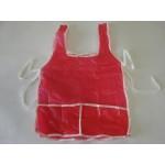 Avental Escolar Plástico C/Bolso Liso Vermelho