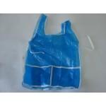 Avental Escolar Plástico C/Bolso Liso Azul